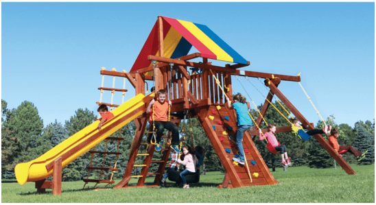 Rainbow Play set with swings rock wall slide