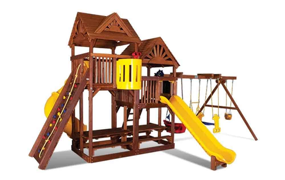 King Kong Clubhouse Pkg II w Dual Picnic Tables & Wood Roofs (54E) 2
