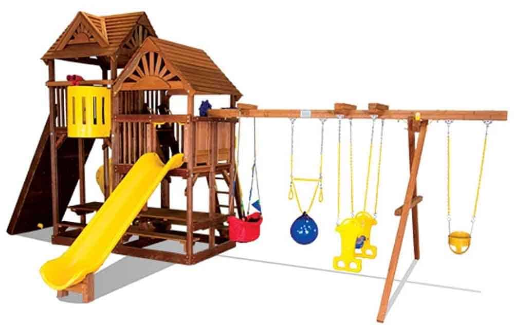 King Kong Clubhouse Pkg II w Dual Picnic Tables & Wood Roofs (54E)